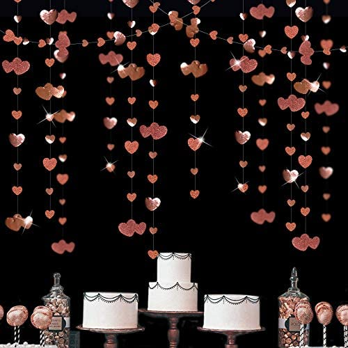 3D Heart Garland Flower Banner Rose Paper Hearts Garland Shabby Chic Floral Mobile for Wedding Party Gift Bridal Shower Rustic Decoration