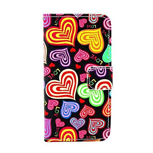 Monkey Cases® iPhone 6 Plus 5,5 Zoll - Flip Case - HERZEN - Matt - Premium - original - neu - Tasche - hearts