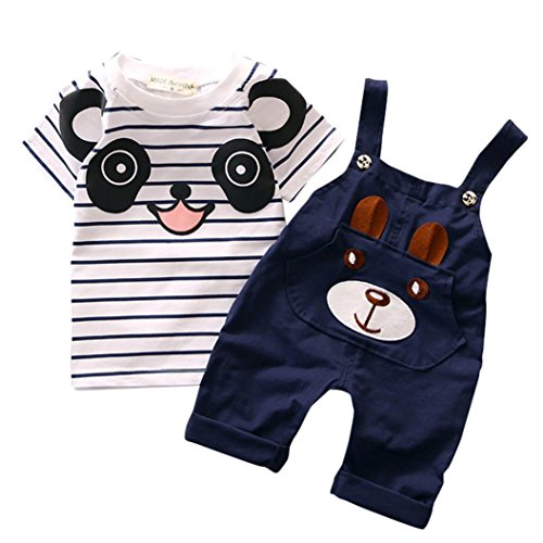 Fanteecy Toddler Baby Boys Kids Little Bear Striped T-Shirt+Overalls Pants Rompers Set Jumpsuit (3-4Y, (Bear Organic Kids T-shirt)