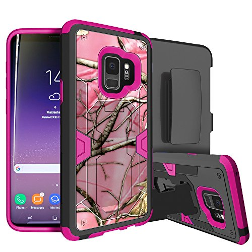 MINITURTLE Case Compatible w/Galaxy S9 Rugged Holster Case w/Stand [MAX Defense Case for Galaxy S9 ][Pink Series] Galaxy S9 SMG960 Case w/HighImpact Silicone Interior & Hard Shell Pink Tree Camo