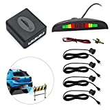 Eunavi Car Reverse Backup Radar System Reverse Parking Sensor, Universal Car Vehicle Backup Auto Radar Detectors System LED Display+High-Volume Warning Buzzer+4 Black Parking Sensors Reversing kit