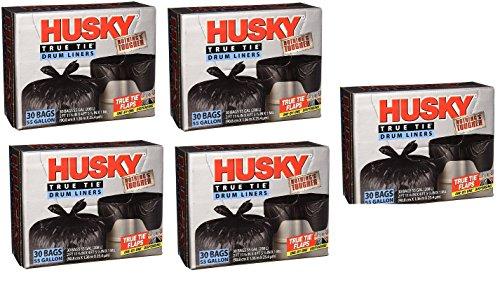 Husky HKK55030B True Tie 55-Gallon Drum Liners, 30-Count (5 -Boxes) by Husky (Image #1)