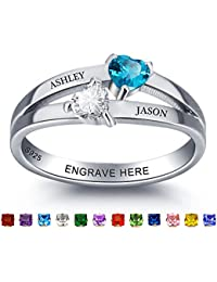 Personalized Couple AAAA Created Birthstone Promise Rings For Her Engagement Wedding Anniversary Rings For Women