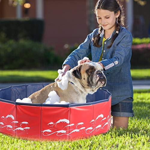Delicacy Foldable Dog Pool, PVC Collapsible Dogs Pet Kiddie Bath Pool Swimming Pool,Bathing Tub for Dogs Cats and Kids-Red