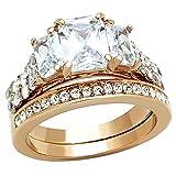 Rose Gold IP Women Wedding Ring Set Three Stone Stainless Steel Emerald Cut Cubic Zirconia Size 5-10 SPJ
