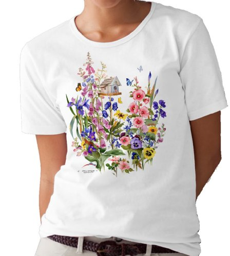 Mystic Stitch Chart - Birdhouse and Garden Flowers T-shirt/tee by Valerie Pfeiffer - Small