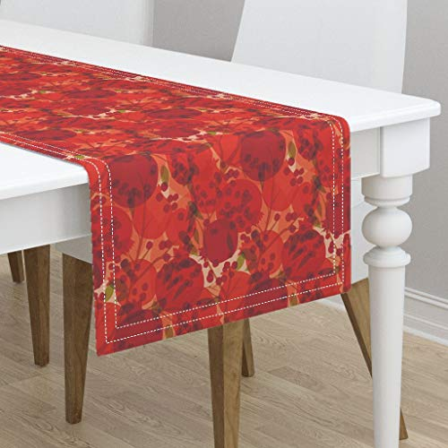 Table Runner - Abstract Pomegranate Bright Bold Fruit Autumn Harvest Red Circles Winter Berries by Ceciliamok - Cotton Sateen Table Runner 16 x 90
