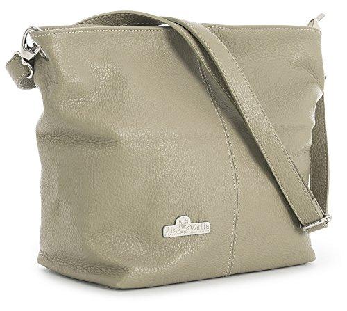 Bag Storage Genuine Womens Hobo Italian Bag Taupe Medium Adal Shoulder with LiaTalia Protective Leather Medium qPwvZvd5