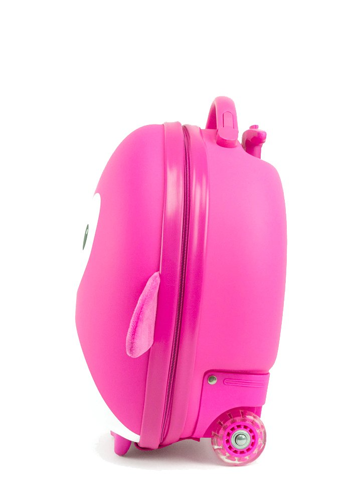 Cute Animal Travel Trolley Luggage for Kids - Pink Penguin by Kids Travel Boutique (Image #2)