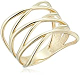 10k Yellow Gold Criss Cross Ring, Size 7