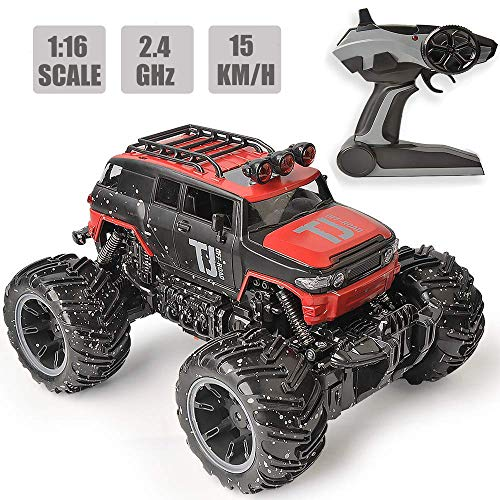 RC Car Remote Control Car, 1:16 Scale Electric RC Vehicles Off Road Vehicle 2.4GHz Radio Monster RC Truck High Speed Racing Monster Truck, Excellent New Year Gift for Kids(Red)