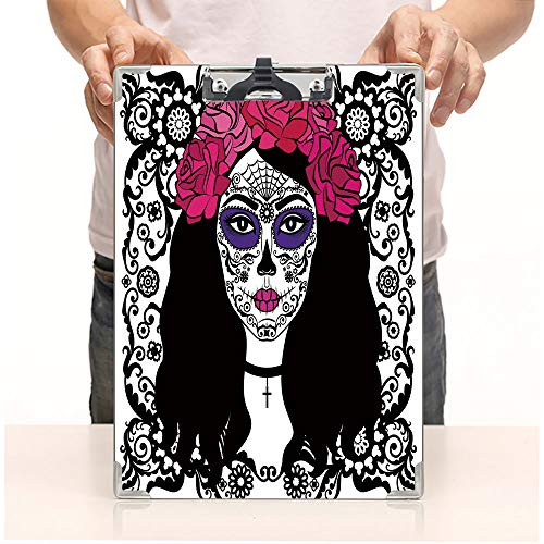 Custom Printing Clipboard,Hardboard Clipboard Pack,Sugar Skull Make Up Dia De Los Muertos Traditional,Office School Workers Business use