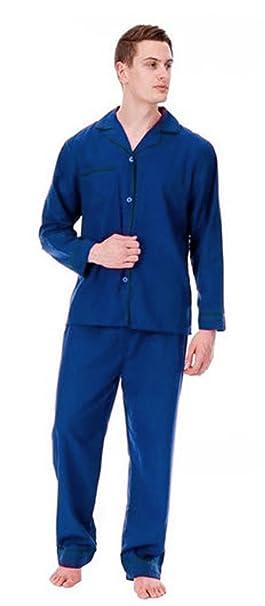 Hombre Largo Tradicional Pijama 2 Piezas Clásico Set Hospital Top + Pantalones Ropa De Noche Para