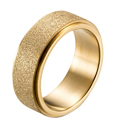 (ALEXTINA Men's Women's 8MM Fashion Stainless Steel Spinner Ring Sand Blast Finish Gold Size 11)