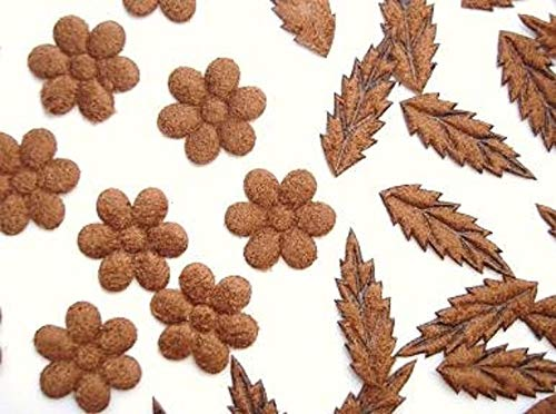 Sewing Craft DIY - 50 Brown Suede Small Flower &, Leave Mix Applique/Trim/Craft/Sewing/Decor h216 - Trims Variety of Colors, Styles and Materials