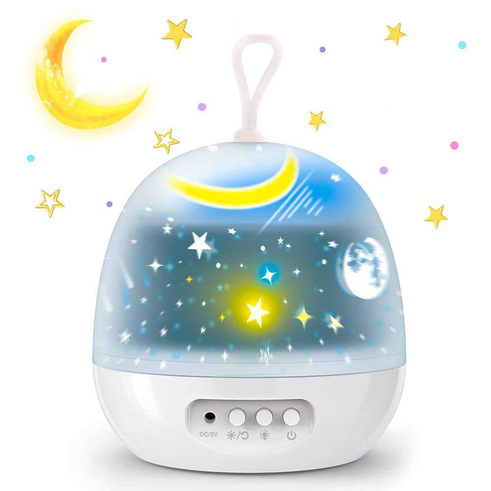 Lampada Proiettore Stelle,Luci Luna notturne per bambini con 360 Rotating Night, 8 Combinazioni dimmerabili-4 Film Diversi Lampada Proiettore Romantic Starry Sky per Home Party Compleanno (white)