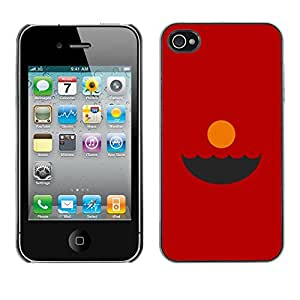 X-ray Impreso colorido protector duro espalda Funda piel de Shell para Apple iPhone 4 / iPhone 4S / 4S - Sunset Red Minimalist Abstract Ocean