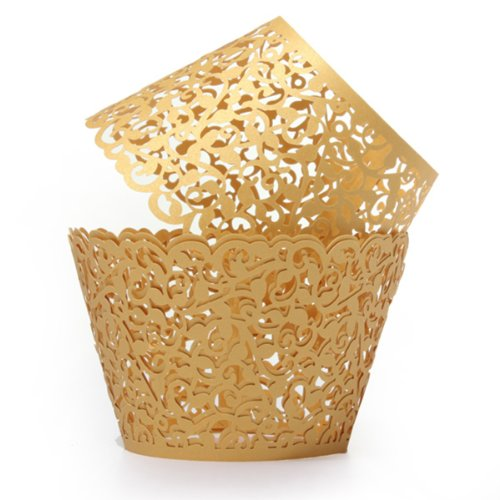 Jeteven Filigree Vine Cupcake Wrappers Baking Cup Paper Holder Case for Party Wedding Birthday Decoration Pack of 12 Gold