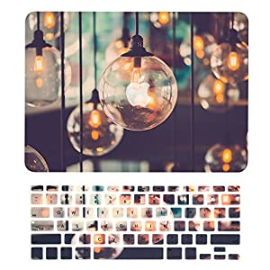 """TOP CASE – 2 in 1 Bundle Deal Graphics Rubberized Hard Case (13"""" Diagonally) + Keyboard Cover for MacBook Pro 13"""" with Retina Display Model: A1425 / A1502 (2012-2015 Release) - Brilliant Light"""