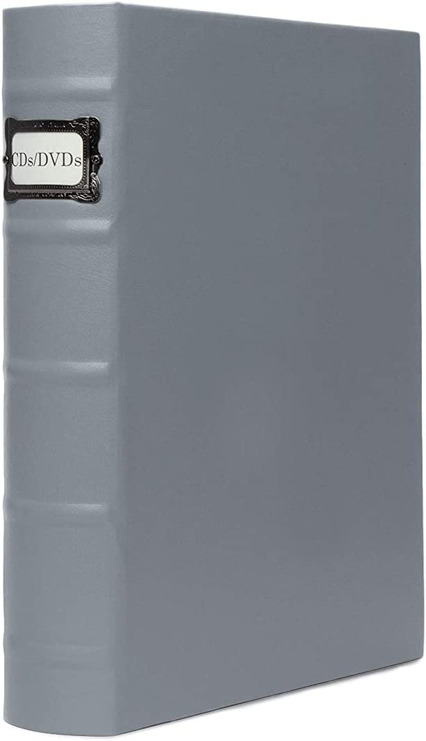 DVD Binder by Bellagio-Italia, Full Gray Faux-Leather - DVD Storage for Home or Office - DVD Storage Binder Stores up to 48 DVDs, CDs, Video Games, or Blue-Rays … (1)