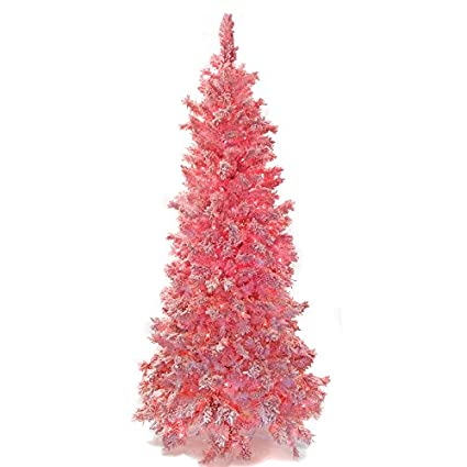 Pink Artificial Christmas Tree.Amazon Com Silksareforever 7 6 Hx46 W Heavy Flocked Pink