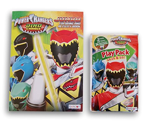 Sabans Power Rangers Dino Charge Jumbo Coloring and Activity Book and Play Pack Bundle