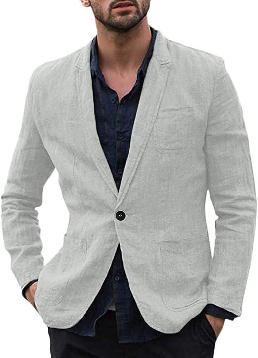 Ndgda - Abrigo de lino para hombre, ajustado, mezcla de algodón ...