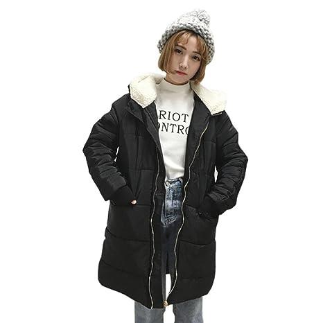 Koly donna casual slim fit espesar caldo invernale cappotto Imbottito Giacche  con cappuccio di lana di 5cbb2465147