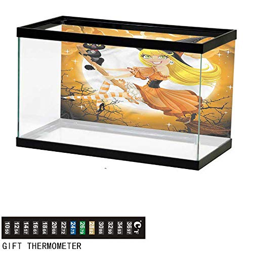 bybyhome Fish Tank Backdrop Halloween,Cute Witch,Aquarium Background,48