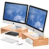 Well Weng Dual Monitor Stand Riser Bamboo for Computer Laptop Desk iMac Printer 2 Pack(M1-2P)