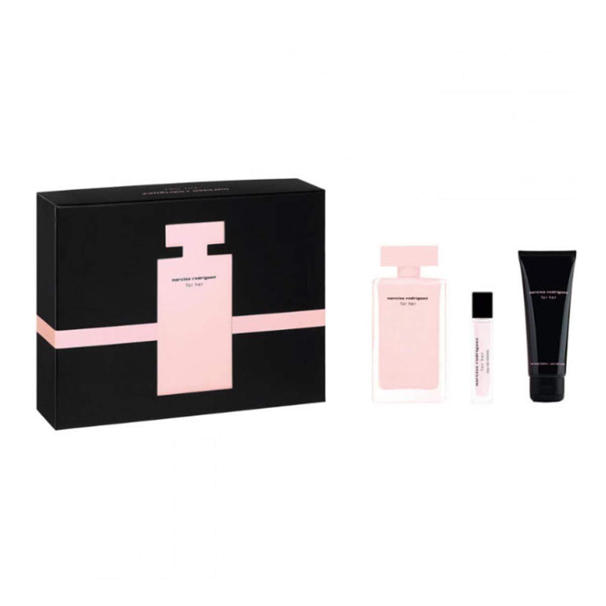 Narciso Rodriguez 3pcs Set Women Eau de Parfum Spray 3.3Fl Oz+Purse Spray 0.33 Fl Oz+Body Lotion 2.5 Fl Oz