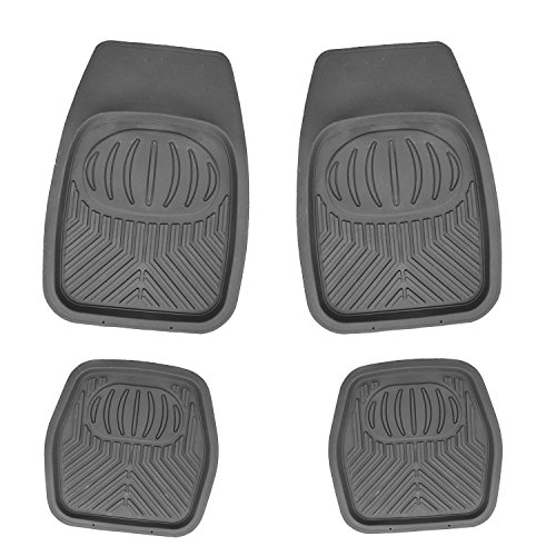 APZONA Multi Season Rubber Floor Mats 4pc Set Grey Fit Most Cars, SUVs, Vans and Trucks
