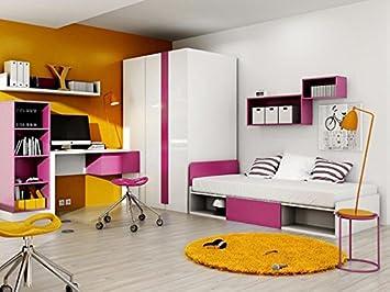 Jugendzimmer komplett weiß hochglanz  Modernes Jugendzimmer Komplett Set Yeti 01 Rechts (7 tlg.) Weiß/Weiß ...