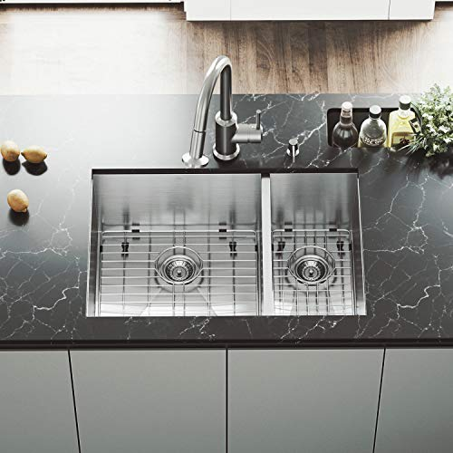 (VIGO 29 inch Undermount 70/30 Double Bowl 16 Gauge Stainless Steel Kitchen Sink with Astor Stainless Steel Faucet, Two Grids, Two Strainers and Soap Dispenser)