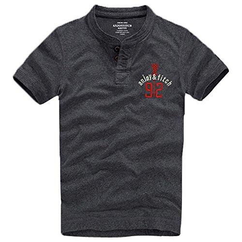 Anjoyfitch&kevin Men's Cotton Short Sleeve Polo Shirt Tops Casual Sports T-Shirt (Small, Dark Grey)