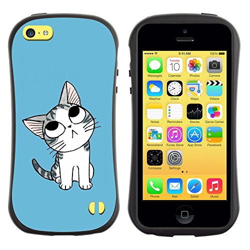 All-Round Hybrid Rubber Case Hard Cover Protective Accessory Gerneration-I Compatible with Apple iPhone 5C - Cute Japanese Thoughtful Cat