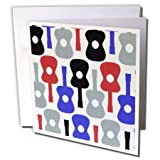 3dRose Fun Red Blue Gray n Black Guitar Pattern - Greeting Cards, 6 x 6 inches, set of 12 (gc_58518_2)