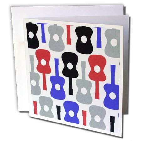 3dRose Fun Red Blue Gray n Black Guitar Pattern - Greeting Cards, 6 x 6 inches, set of 12 (gc_58518_2) by 3dRose