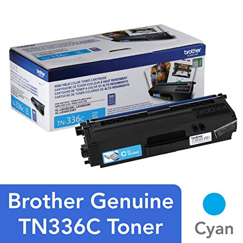 Brother Genuine High Yield Toner Cartridge, TN336C, Replacement Cyan Toner, Page Yield Up To 3,500 Pages, Amazon Dash Replenishment Cartridge, TN336 (Replacement Cartridge Printer Cyan)