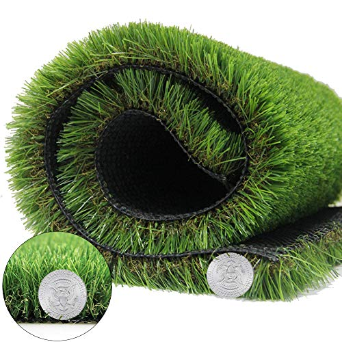 Artificial Grass Turf Synthetic Rug Super Thick Fake Carpet for Garden Doormat Outdoor Backed with Drainage Holes, 1.38 in Pile Height (6.9 FT x 13.8 FT =95.2 Square FT, Grass Weight - 84 oz)