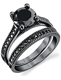 Metal Masters Co. Black Sterling Silver 1.25 Carat Round Black Cubic Zirconia Engagement Wedding Ring Bridal Set
