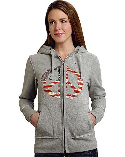 (Roper Women's Distressed Patriotic Peace Sign Hoodie Grey Sweatshirt)