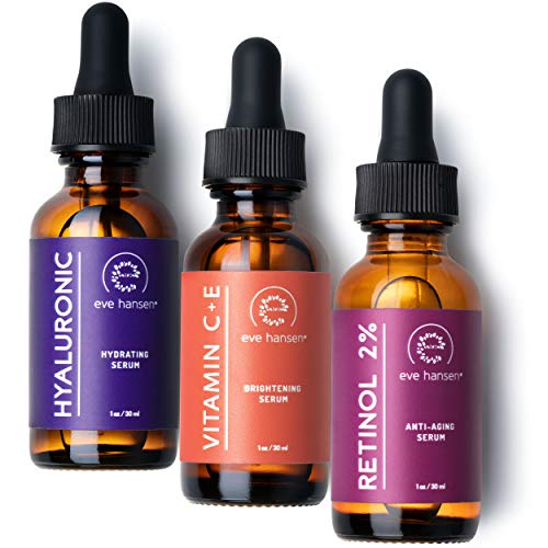 (Eve Hansen Anti-Aging Serum Set | Vitamin C Serum, Hyaluronic Acid Serum, Retinol Serum | Brightening Serum, Anti Wrinkle Serum, Dark Spot Corrector for Face, Acne Scars, Pore Minimizer | 3x1 oz)