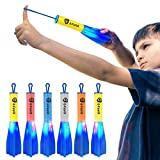 D-FantiX LED Foam Finger Rockets, Slingshot Flying Rocket Toy for Kids Outdoor Camping Glow Up Party Favors Gift Pack of 6 with Storage Bag