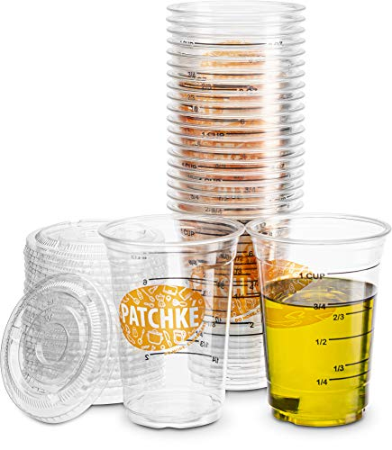 { 20 Cups + 20 Lids } Disposable Measuring Cup - Plastic Graduated mixing Cups (8 oz - 1 cup) Great for Mixing Resin/Epoxy Paint, Cooking, Baking and Crafts - (20 Sets - For Leak Proof use 2 lids)