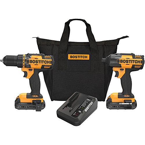 BOSTITCH 2-Piece Tool Combo Kit Includes BTC400 18v 1/2 inch Lithium Drill/Driver and a BTC440 18v 1/4 inch Hex Chuck Lithium Impact Driver, Features 2 Speed gear box (0-350. 0-1500 RPM)