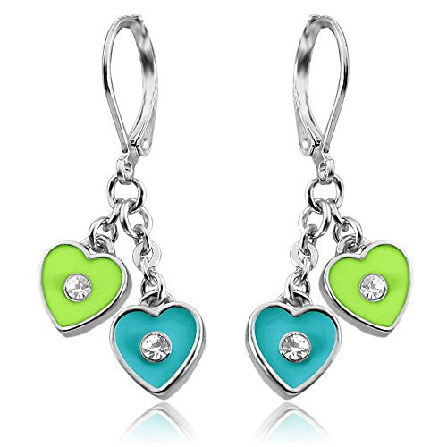 Double Heart Hoop Earrings For Girls | Nickel Free Earrings For Little Girls With Dangle Hearts Silver Tone Rhodium Plated Leverback Earrings for Girls | Childrens Earrings | Nickel Free Earrings (Heart Childrens Earrings Leverback)