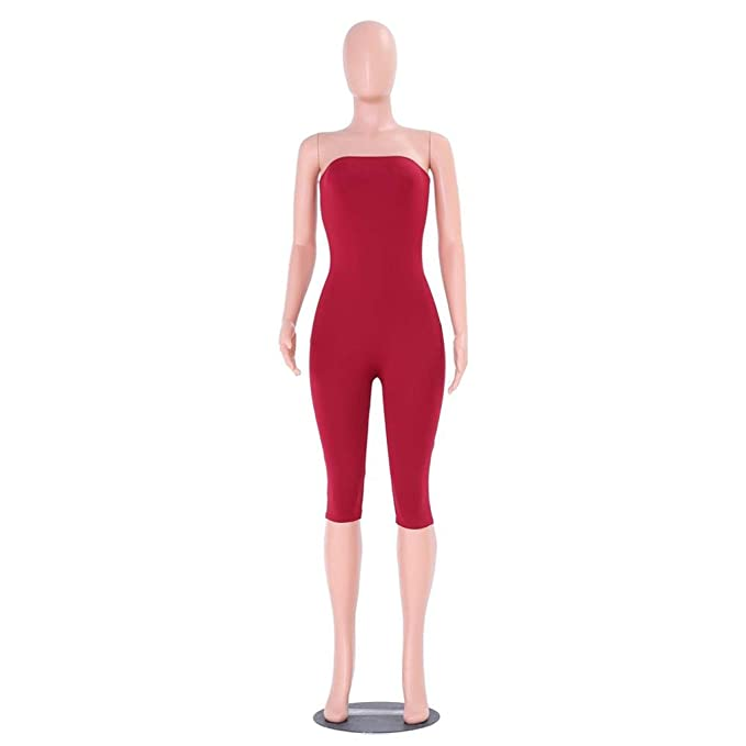 8986d98c952b Amazon.com  Bravetoshop Women Short Jumpsuit Solid Off Shoulder Romper  Sleeveless Summer  Clothing