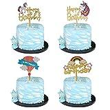 Unicorn Happy Birthday Cake Topper Acrylic Unicorn Cupcake Topper Glitter Birthday Party Supplies Unicorn Party Event Decorations (4 pieces)