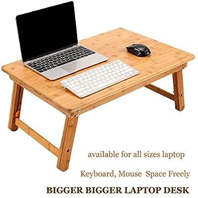Laptop Desk NVANTE Adjustable Laptop Desk Table 100% Bamboo with USB Fan Foldable Breakfast Serving Bed Tray by NNEWVANTE
